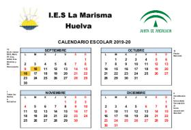 Calendario Escolar Huelva.Calendario Escolar 2018 19